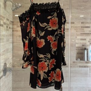 Black floral cold shoulder Eight Sixty dress